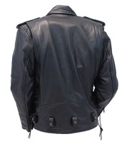 Jamin Leather Premium Beltless Side Lace Leather Motorcycle Jacket w/Dual CCW Pockets #MA15ZL