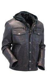 Men's Vintage Black Hooded Leather Jean Jacket w/Vents #MA2760GHVV