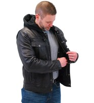 Men's Vintage Black Hooded Leather Jean Jacket w/Vents #MA2760GHVV