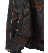 Dark Vintage Brown Leather Vented Motorcycle Jacket w/CCW Pockets #MA6037VZN