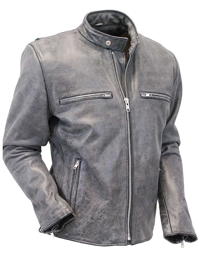 Jamin Leather Hand Painted Vintage Gray Rebel Rider Jacket w/CCW Pocket #MA801ZGGY