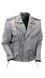 Jamin Leather Double Zip Hand Painted Vintage Gray Motorcycle Jacket w/CCW Pocket #MA802LZGGY