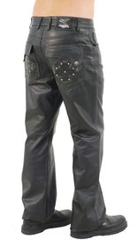 Jamin Leather Hand Stitched Rivet Star Pocket Men's Pants #MP11016XK