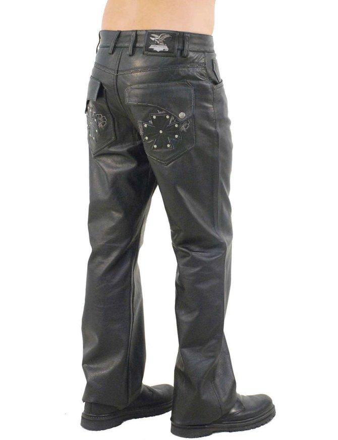 Jamin Leather Hand Stitched Rivet Star Pocket Men's Pants #MP11016XK