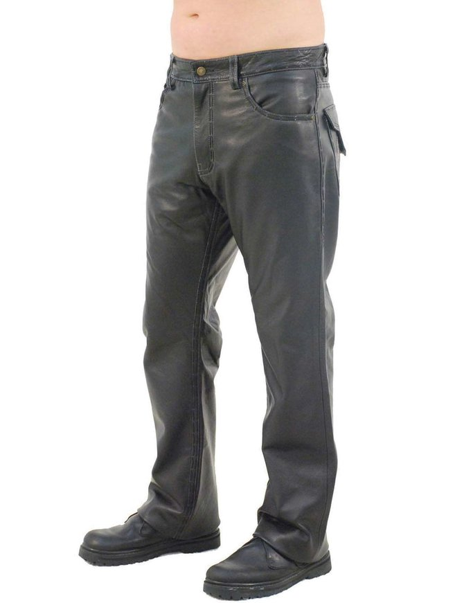 Jamin Leather Hand Stitched Snap Pocket Men's Pants #MP11017WK