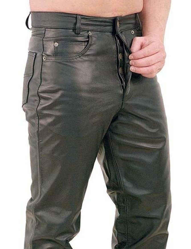 Jamin Leather Button Fly Leather Pants for Men #MP1140BT