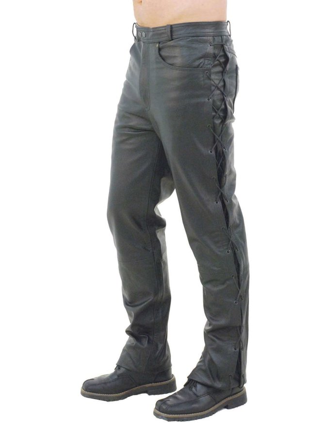 Men's Leather Pants w/Side Lacing #MP751L