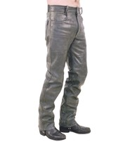 Jamin Leather Cobblestone Gray Leather Pants #MP753GY