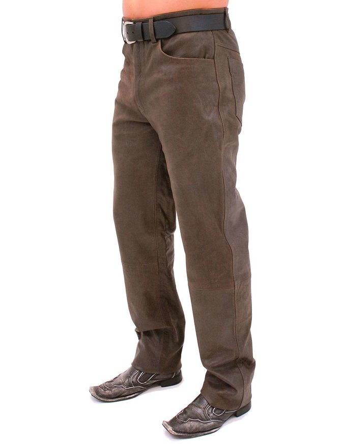 Jamin Leather Rich Brown Leather Pants #MP754N