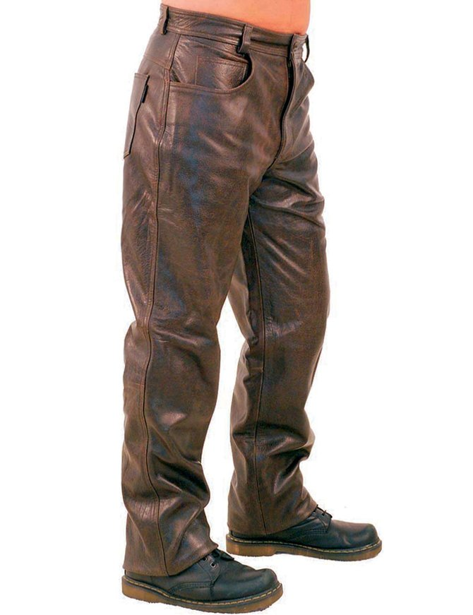 Jamin Leather Heavy Retro Dark Brown Leather Pants #MP762N