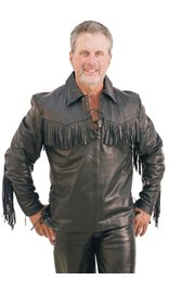Jamin Leather Premium Buffalo Pullover Fringe Leather Shirt #MS1082FK (M-3X)