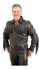 Jamin Leather Premium Buffalo Pullover Fringe Leather Shirt #MS1082FK