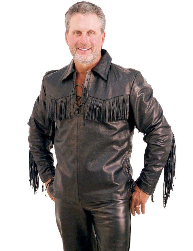 Jamin Leather Premium Buffalo Pullover Fringe Leather Shirt #MS1082FK