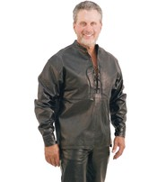 Jamin Leather Lace Up Pullover Leather Shirt #MS2013LK