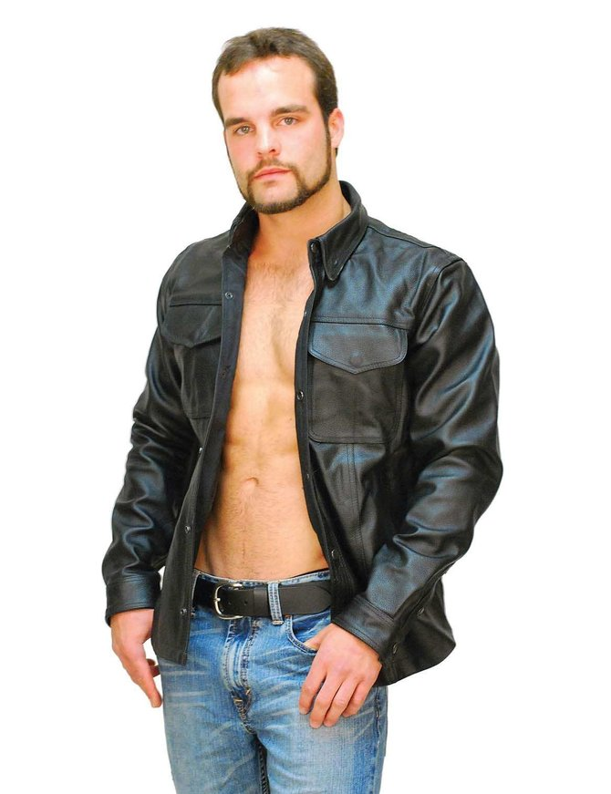 Heavy Snap Up Biker Leather Shirt - Special #MS778SP