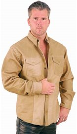Light Brown Leather Shirt #MS852N (S-6X)