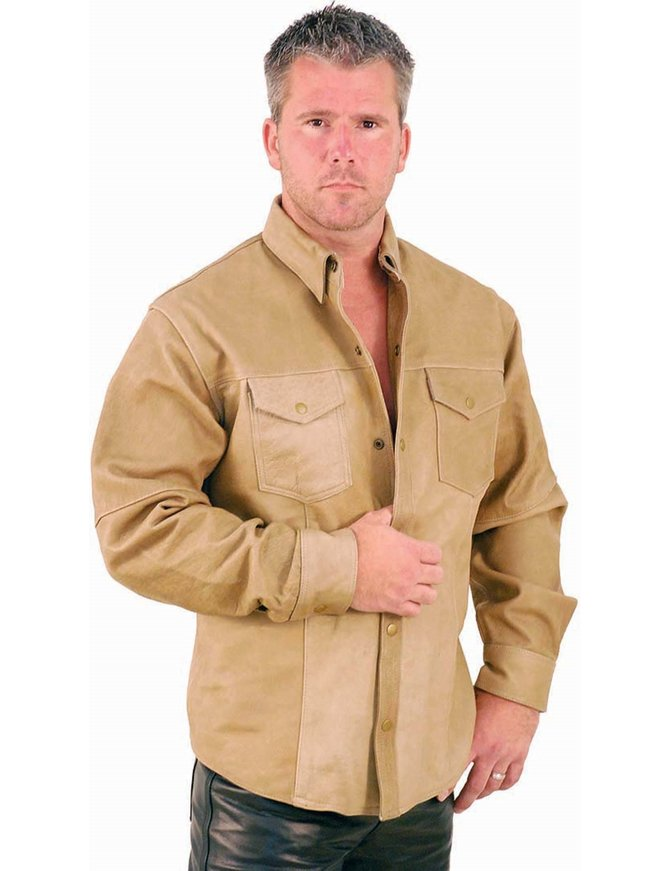 Light Brown Leather Shirt #MS852N