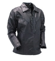 Jamin Leather Men's Black Leather Lace Up Pullover Shirt with Side Zippers #MS854LK