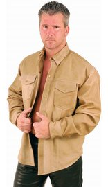 Light Brown Leather Shirt #MS852N (6X-7X ONLY)