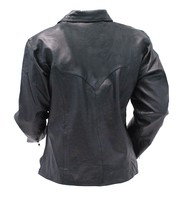 Men's Black Leather Lace Up Pullover Shirt with Side Zippers #MS854LK