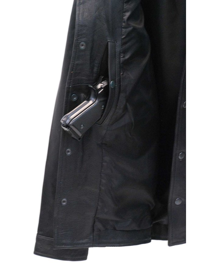 Straight Bottom Concealed Weapon Leather Shirt w/Dual CCW Pockets #MS867GK