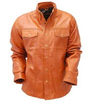 Jamin Leather Waxy Distressed Light Brown Leather Shirt #MS9010N