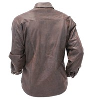 Jamin Leather Rich Brown Leather Shirt - Jean Style #MS9011N