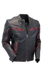 Men's Red Trim Ultimate Vintage Black Vented Racer Jacket w/CCW Pockets #MSA6634VZR