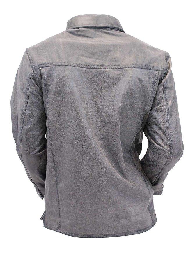 Men's Vintage Gray Leather Shirt w/CCW Pockets #MSA6874GGY