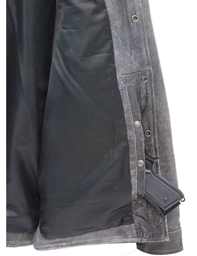 Men's Vintage Gray Leather Shirt w/CCW Pockets #MSA6874GGY