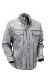 Jamin Leather Men's Hand Painted Vintage Gray Leather Shirt w/CCW Pocket #MSA804GGY