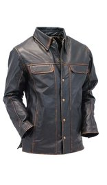 Men's Vintage Brown Buffalo Leather Shirt w/CCW Pockets #MSA8672GDN