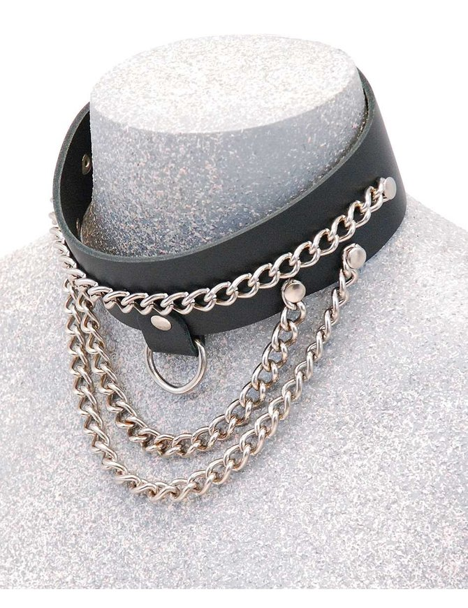 Jamin Leather Wide Leather Multi-Chain Choker w/D-Ring #N16015DCC