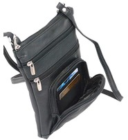 9'' Large Black Leather Side Bag Purse w/Organizer Front Pocket #P004K