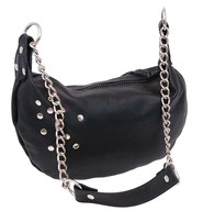 Jamin Leather Black Chain & Leather Banana Bag #P14071RK