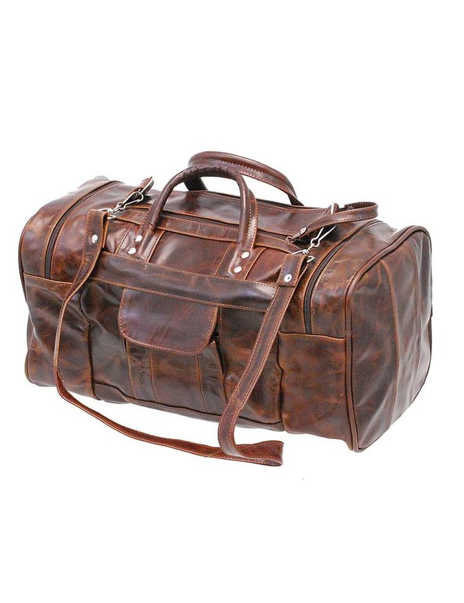 Medium Size Vintage Brown Leather Travel Duffel Bag #P302MDN