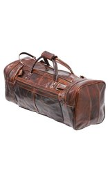 Large Size Vintage Brown Leather Travel Duffel Bag #P3102DN