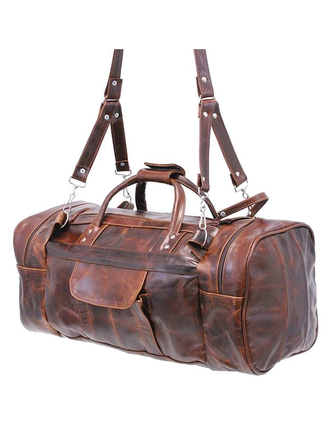 Jamin Leather Large Size Vintage Brown Leather Travel Duffle Bag #P3102DN