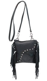 Black Leather Fringed Hip Clip Bag w/Rivets and Shoulder Strap #P74RFK