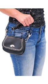 Black Leather Rhinestone & Stud Double Clip Hip Klip Bag #PKK006SRK