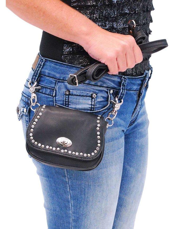 Black Leather Rhinestone & Stud Double Clip Hip Klip Bag #PKK006SRK