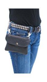 Jamin Leather Black Leather Clip-On Hip Klip Bag #PKK13065K