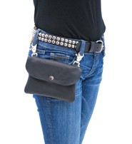 Jamin Leather Black Leather Clip-On Hip Klip Bag #PKK13065K