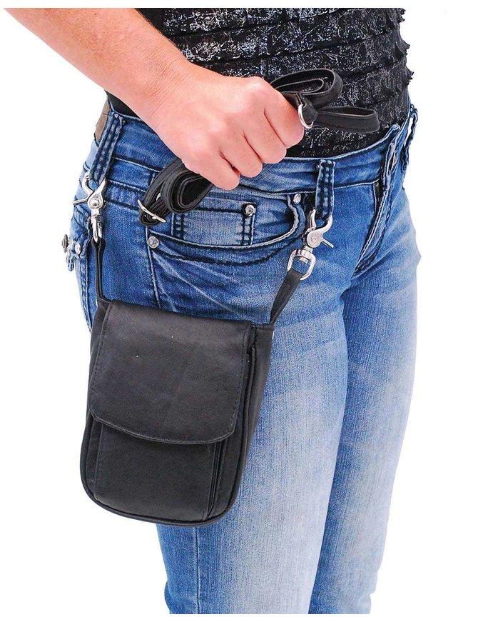 Tall Black Leather Organizer Clip-On Hip Klip Bag Purse #PKK1350K