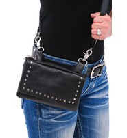 Stud Trim Black Leather Hip Klip Bag With Removable Strap#PKK2151RK