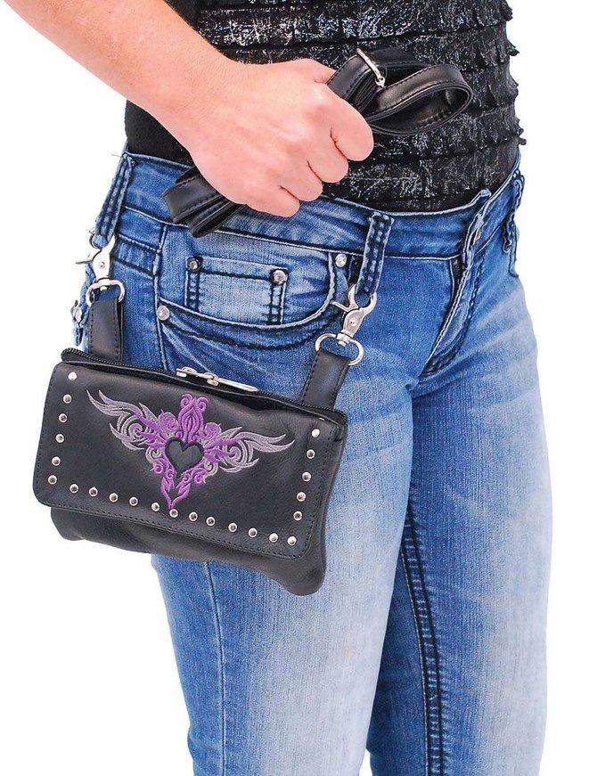 Stud Trim Purple Embroidered Black Leather Hip Klip Bag #PKK2156PUR