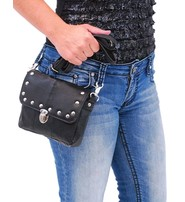 Black Leather Rivet Trim Clip-On Hip Klip Bag #PKK400SK
