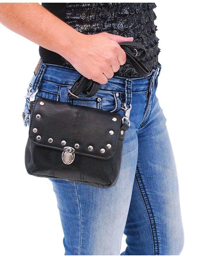 Black Leather Rivet Trim Clip-On Hip Klip Bag #PKK400SK