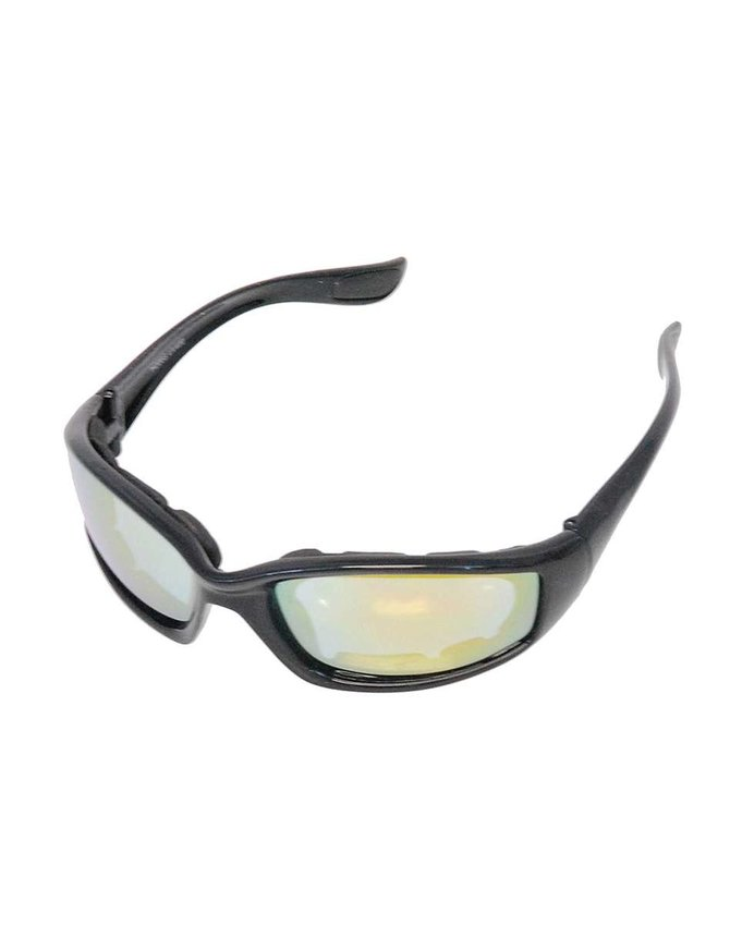 Foam Filled Classic Biker Glasses w/Thick Black Frame #SG2182FF