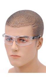 Sporty Anti-Fog Clear Lens Riding Glasses w/Black Temples #SG23854C